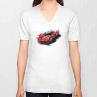 ferrari V-neck T-shirts featuring Ferrari LaFerrari by an.artwrok