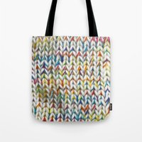 knit Tote Bags featuring Knit Pattern  by Manuela Mishkova
