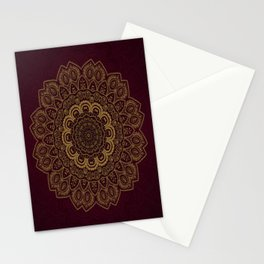 Gold Mandala on Royal Red Background Stationery Cards