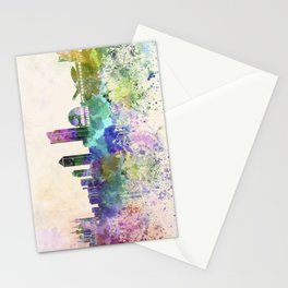 Lyon skyline in watercolor background Stationery Cards