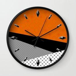 Abstract black orange painting . Wall Clock