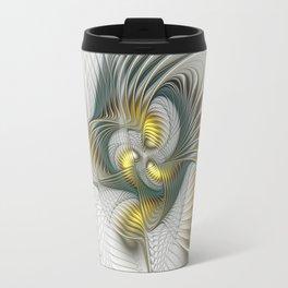 Noble And Golden, Abstract Modern Fractal Art Travel Mug