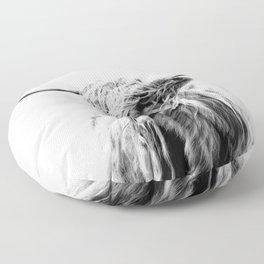 portrait of a highland cow Floor Pillow