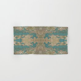 Rustic Wood - Weathered Wooden Plank - Beautiful knotty wood weathered turquoise paint Hand & Bath Towel