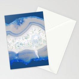 agate, quartz, crystal stone cornflower blue, royal blue, cobalt, gray Stationery Cards