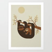 sloths Art Prints featuring Sloths by nextline