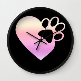 Cute Heart Paw Print design Funny Love Gift For Cat Owners Wall Clock