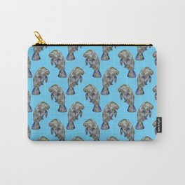 Blue Watercolor Manatee Pattern Carry-All Pouch