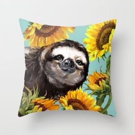 Sloth with Sunflowers Throw Pillow