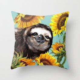 Sloth with Sunflowers Deko-Kissen
