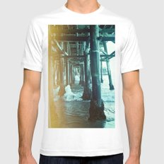 Under the Pier.  White Mens Fitted Tee MEDIUM