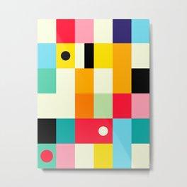 Geometric Bauhaus Pattern | Retro Arcade Video Game | Abstract Shapes Metal Print