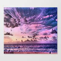 Canvas Prints featuring Hawaii Pacific Ocean Romantic Sunset (Painting) by HIGraphicDesigns