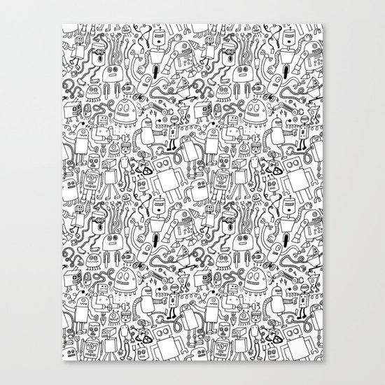 Infinity Robots Black & White Canvas Print