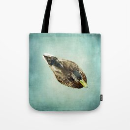 Brown Duck on Teal Blue Green Tote Bag