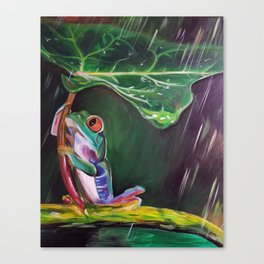 Tree Frog with a Leaf Umbrella Canvas Print