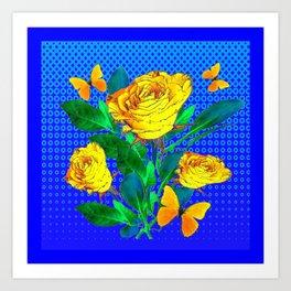 YELLOW BUTTERFLIES, ROSES, & BLUE OPTICAL ART Art Print