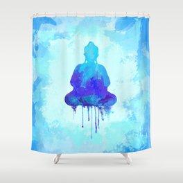 Watercolor zen Buddha blue Shower Curtain