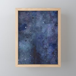 Night Sky Stars Galaxy | Watercolor Nebula Framed Mini Art Print