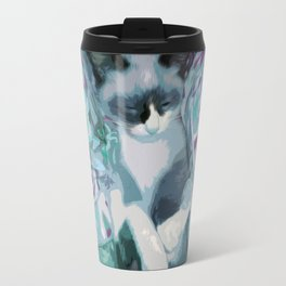 Nestled Kitten in Comforter Cloud Travel Mug
