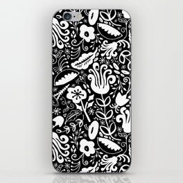 Funky Vintage Floral // Monochrome Black and White // Color Your Own Flower Garden iPhone Skin