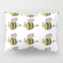 Hand drawn black yellow stripes cute honey bee illustration Pillow Sham