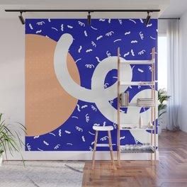 Peach + Blue Abstract Pattern Wall Mural