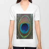 peacock feather V-neck T-shirts featuring Peacock Feather by MetallicSkin