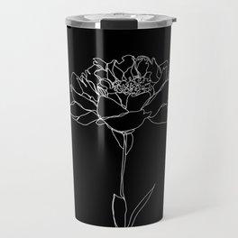 Rose line drawing - Lorna Black Travel Mug