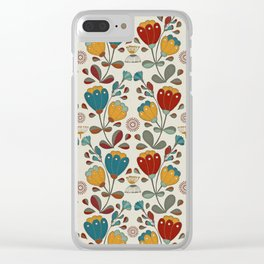 Vintage Ethno Flowers in red, blue and yellow on beige Clear iPhone Case