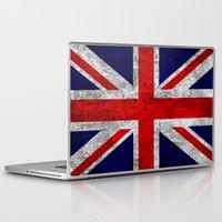 union jack Laptop & iPad Skins featuring Union Jack Grunge Flag by Alice Gosling
