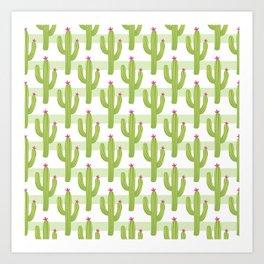 Cactus illustration pattern on light green and white stripes Art Print