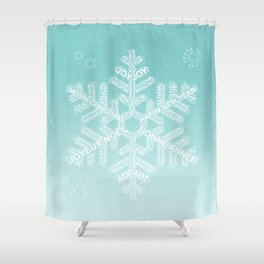 Typographic Snowfake Greetings - Ombre Teal Shower Curtain
