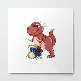 Drumming Dinosaur Dino Dumset Drumstick Present Metal Print