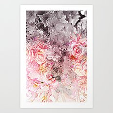 Floral in pinks and taupe Art Print