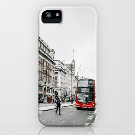Red bus in Piccadilly street in London iPhone Case