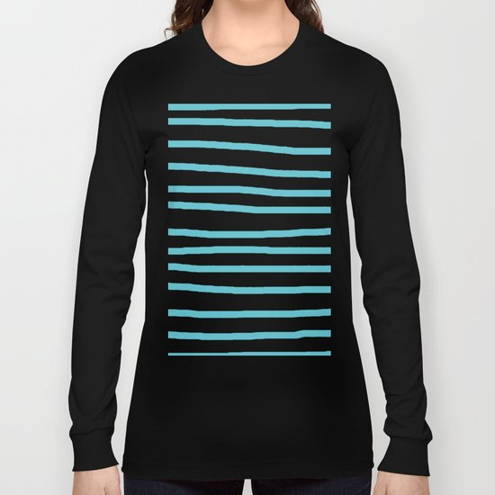 Simply Drawn Stripes in Seaside Blue Long Sleeve T-shirt