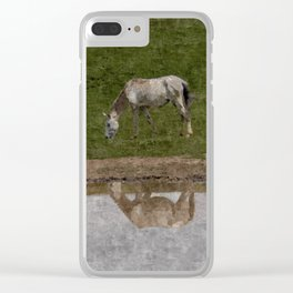 Grazing Horses by the River Clear iPhone Case