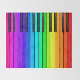 Rainbow Piano Keyboard  Throw Blanket