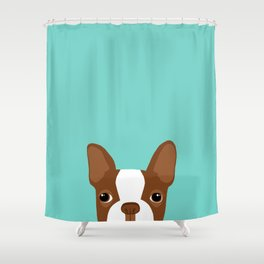 Red Boston Terrier Shower Curtain