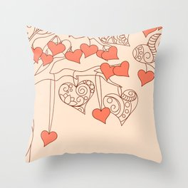 hearts with love Throw Pillow