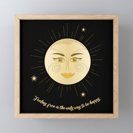 Feeling Free Be Happy Sun Geometric Framed Mini Art Print