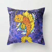 koi fish Throw Pillows featuring Koi Fish by Spooky Dooky