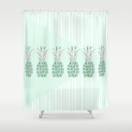 Floral Pineapple Stripes Mint Shower Curtain