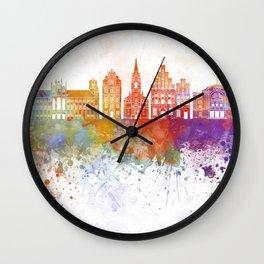 Torun skyline in watercolor background Wall Clock