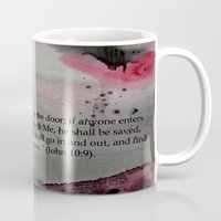 religious Mugs featuring The Door----Religious Abstract Art --- John 10:9 --- by Saribelle Rodriguez by Saribelle Inspirational Art