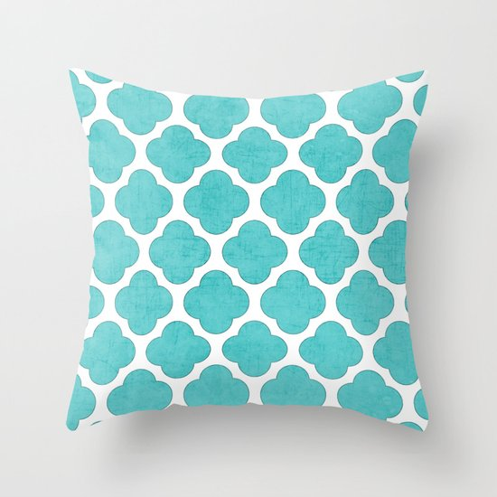 aqua clover Throw Pillow