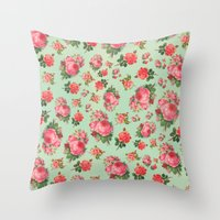 floral pattern Throw Pillows featuring FLORAL PATTERN by Allyson Johnson