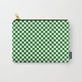Christmas Green and White Checker Board Pattern Carry-All Pouch