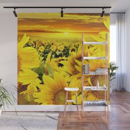 Sunflower fields with golden sky - Jéanpaul Ferro Wall Mural